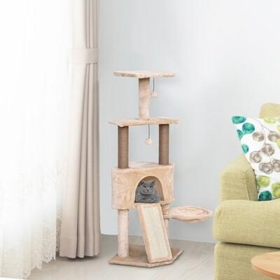 PawHut® Katzenbaum 4-Stock Kratzbaum Katzenhöhle Sisalsäule Kratzbrett Plüsch Beige