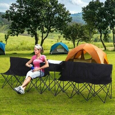 Outsunny® Campingbank 6-Sitzer Faltbank Ersatzbank Klappbank Tragetasche Oxford Schwarz