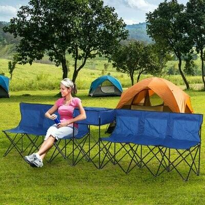 Outsunny® Campingbank mit Kühlfunktion 6-Sitzer Faltbank Ersatzbank Klappbank Tragetasche Oxford Blau