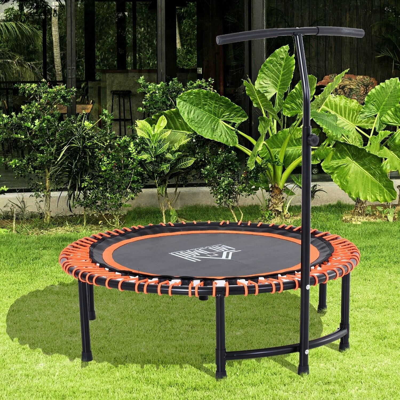 HOMCOM® Trampolin Fitness-Trampolin Gartentrampolin für Joga 114,3x114,3x138cm