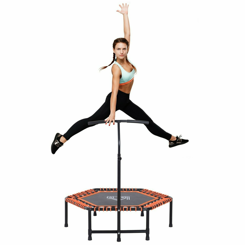 HOMCOM® Fitness-Trampolin Trampolin Gartentrampolin für Joga 121,92x121,92x138cm