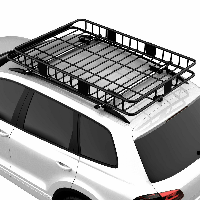 HOMCOM® Universal Dachkorb Auto Dachträger Dach Gepäckträger Gepäckkorb Metall Schwarz