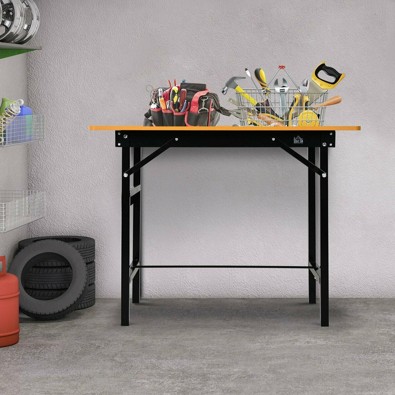 HOMCOM® Werkbank Werktisch Arbeitstisch Arbeitsplatte klappbar Stahl MDF Gelb+Schwarz