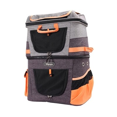 Ibiyaya Doppel Hunderucksack,  Two-tier Pet Backpack; Orange-Gray