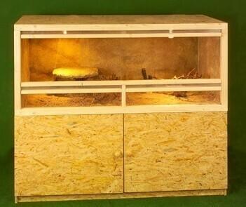 Holzkonzept OSB-Terrarium 120 x 60 x 60 cm mit Unterschrank und Frontbelüftung