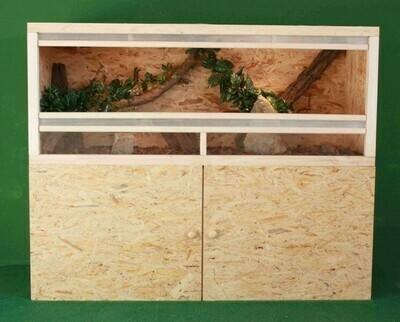Holzkonzept OSB-Terrarium 150 x 60 x 60 cm mit Unterschrank und Frontbelüftung