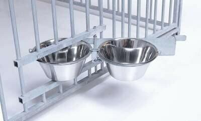 SAUERLAND Futterset ausschwenkbar mit 2 Edelstahlschüsseln je 4 l