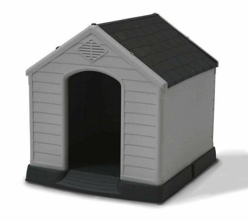 Kunststoff Hundehütte mit Satteldach, grau/anthrazit, Allwetter, Eingang Schmalseite