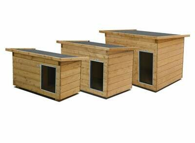 SAUERLAND Hundehütte mit Vorraum, Allwetterdach, isoliert, imprägniert, Eingang Längsseite in 3 Grössen