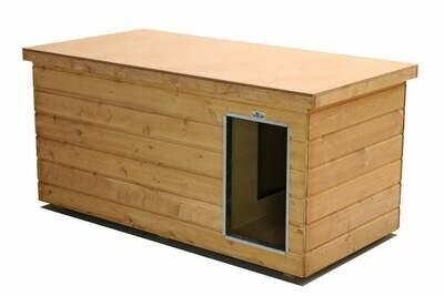 Ausstellungsstück: SAUERLAND Flachdach Hundehütte Dino mit Vorraum, isoliert, imprägniert, Eingang Längsseite