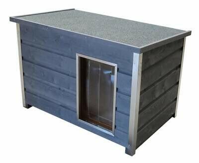 Wetterfeste Holz-Hundehütte grau mit aufklappbarem Flachdach, 100x70x80 cm