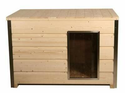 Holz-Hundehütte mit 30 mm Isolierung und Flachdach, Eingang Längsseite