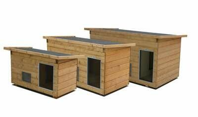 """SAUERLAND Hundehütten mit Vorraum """"Luxus"""", Allwetterdach, Fenster, isoliert, imprägniert, Eingang Längsseite in 3 Grössen"""