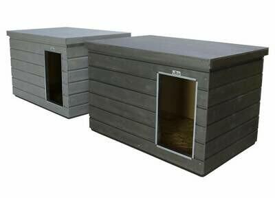 """SAUERLAND Wetterfeste Hundehütte """"Aktion"""" grau, Flachdach mit Dickschichtlasur, mittelgroß, Eingang Längsseite"""