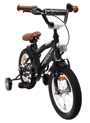 AMIGO BMX Fahrrad / Velo Fun 14 Zoll Jungen Rücktrittbremse Mattschwarz