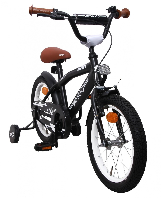 AMIGO BMX Fahrrad / Velo Fun 16 Zoll 28 cm Jungen Rücktrittbremse Mattschwarz