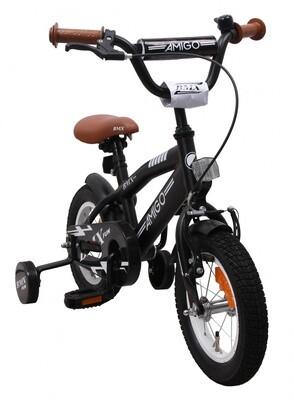 AMIGO BMX Fahrrad / Velo BMX Fun 12 Zoll Jungen Rücktrittbremse Mattschwarz