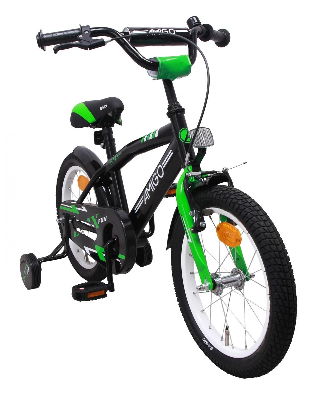 AMIGO BMX Fahrrad / Velo Fun 16 Zoll Jungen Rücktrittbremse Schwarz/Grün