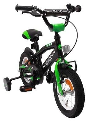 AMIGO BMX Fahrrad / Velo Fun 12 Zoll Jungen Rücktrittbremse Schwarz/Grün