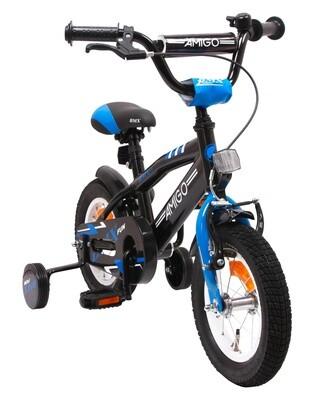 AMIGO BMX Fahrrad / Velo Fun 12 Zoll Jungen Rücktrittbremse Schwarz/Blau