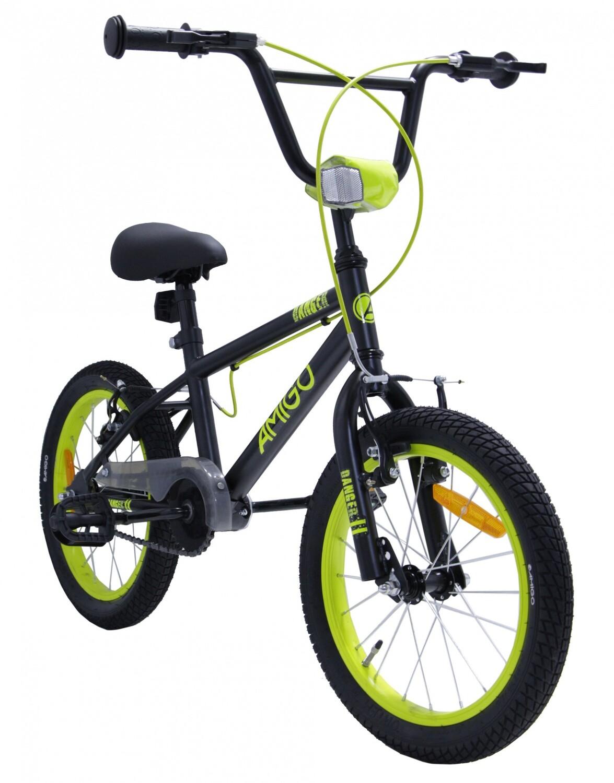 BMX Fahrrad / Velo AMIGO BMX Danger 16 Zoll 25,4 cm Junior V-Brake Schwarz/Gelb