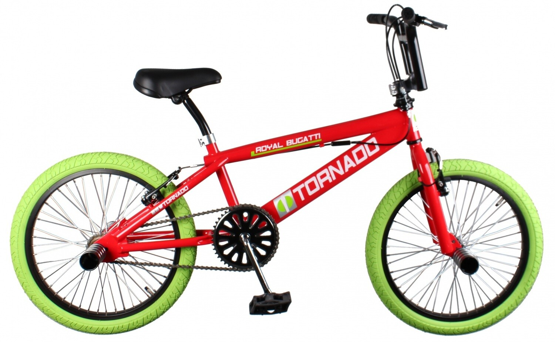 BMX Fahrrad / Velo Bike Fun Tornado 20 Zoll 31 cm Unisex V-Brake Rot/Grün
