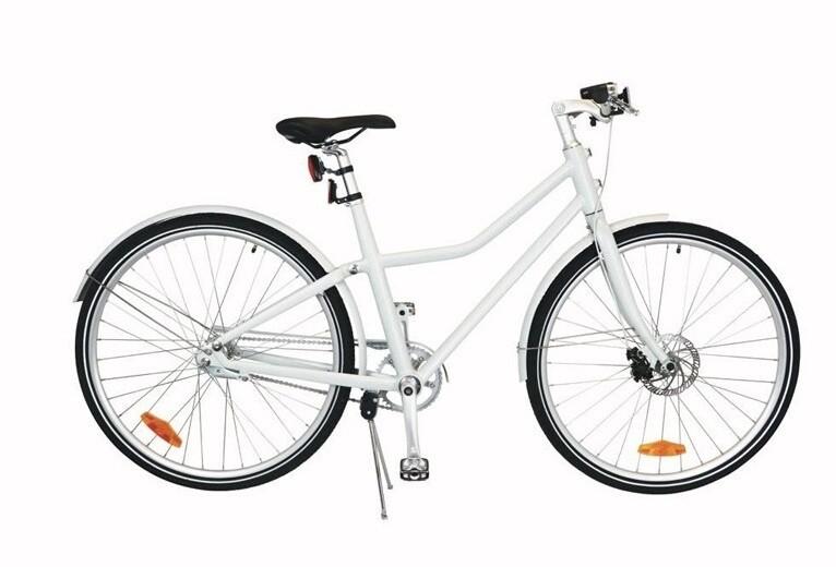 Damen & Herren City Fahrrad / Velo TOM City Bike Deluxe 26 Zoll Unisex 2G Scheibenbremse Weiss