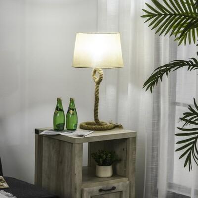 OMCOM® Tischlampe Tischleuchte E27-Fassung Nachttischlampe 40 W Hanf Leinen Stahl Beige