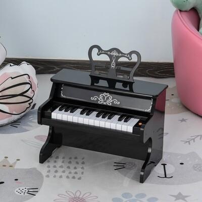 HOMCOM® Kinder Klavier Mini-Klavier 25 Tasten Kinderpiano Keyboard mit Notenpult Schwarz
