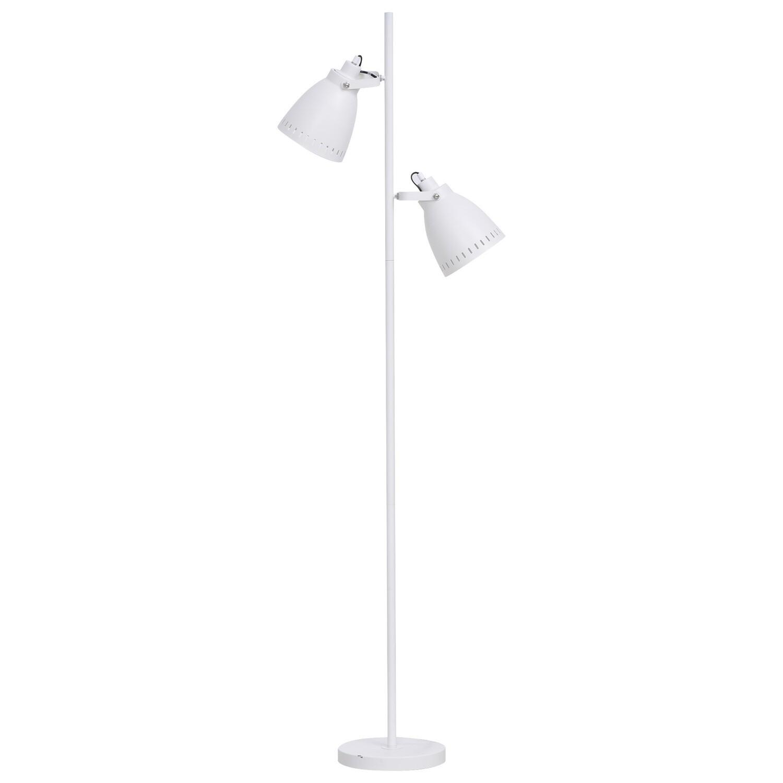 HOMCOM® Stehleuchte Stehlampe E27 mit 2 flexible Lampenköpfen neben Sofa Stahl Weiss