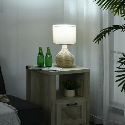 HOMCOM® Tischlampe Tischleuchte E27-Fassung Nachttischlampe Rattan Leinen Stahl Beige