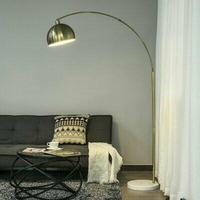 HOMCOM® Stehlampe mit Verstellbarem Schirm E27 Stehleuchte Marmorbasis Metall