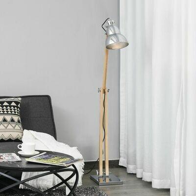 HOMCOM® Stehlampe Höhenverstellbare Stehleuchte Verstellbarer Schirm E27 Massivholz
