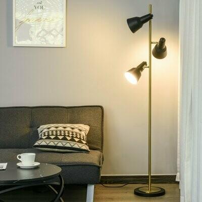 HOMCOM® Stehlampe mit 3 Leuchten E27 Stehleuchte Verstellbare Schirme Metall Bronze
