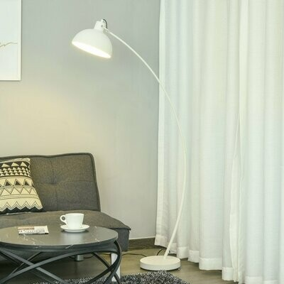 HOMCOM® Stehlampe mit Verstellbarem Schirm E27 Stehleuchte Innenleuchtung Metall