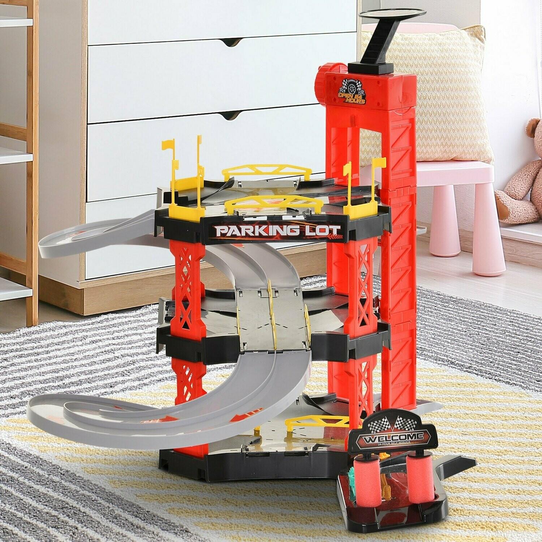 HOMCOM® Rennbahn Kinder Autorennbahn mit 2er Looping für Spielzeugautos Dreistufig, Parking-Garage, Tankstelle,  Rot