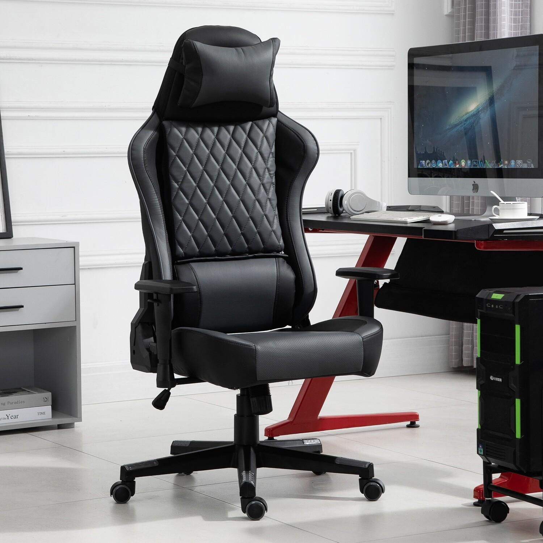 Vinsetto® Ergonomischer Gaming Stuhl Bürostuhl mit Wippfunktion höhenverstellbar Schwarz