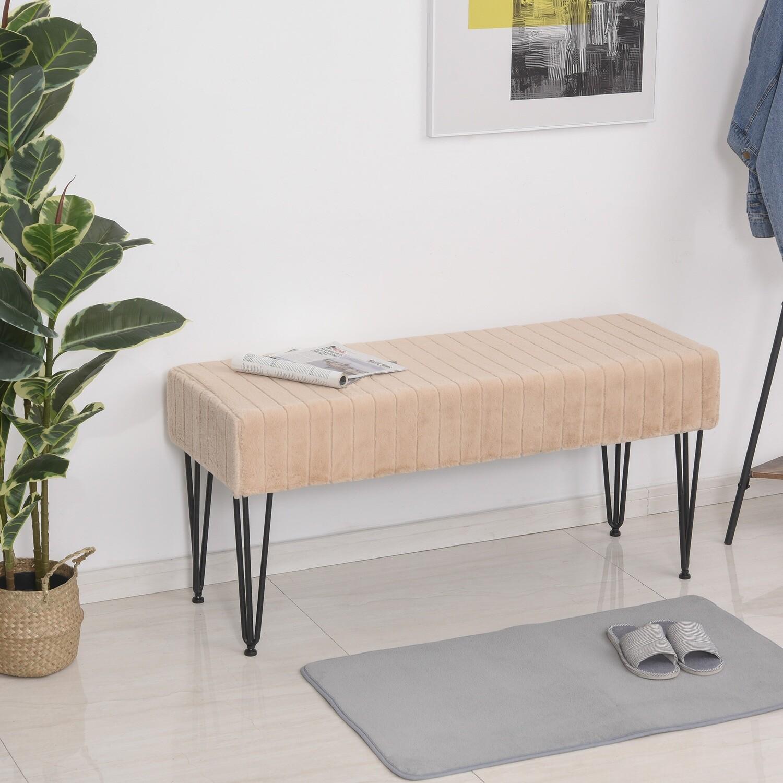 HOMCOM® Sitzbank Schuhbank Sitztruhe Eingangsbereich Lounge Plüsch Schwarz+Khaki