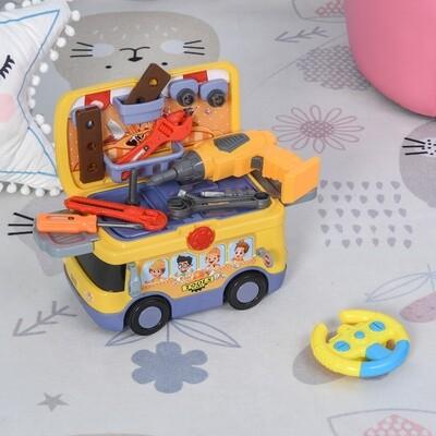 HOMCOM® 3-in-1 Kinder R/C Bus 2.4GHz Ferngesteuerter Werkzeugwagen mit Stauraum Musik