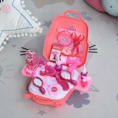 HOMCOM® Kinder Kosmetikkoffer Frisierkoffer Prinzessin Spielzeug für 3-9 Jahre