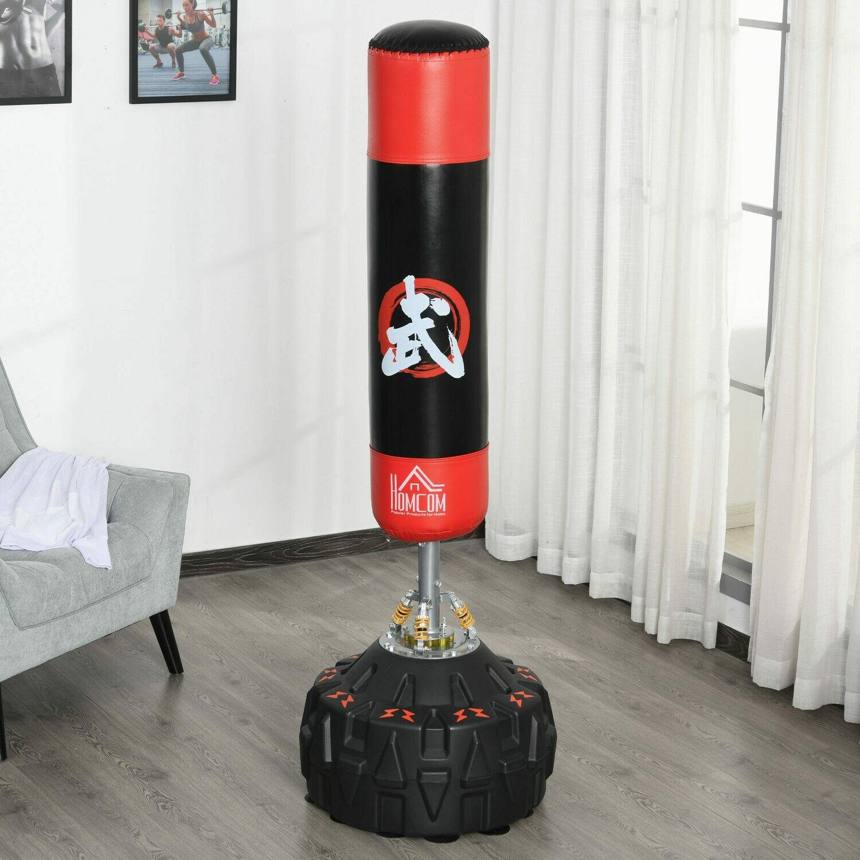 HOMCOM® Standboxsack Erwachsene mit Saugfuss Schwarz+Rot Boxen, Karate, Kickboxen,