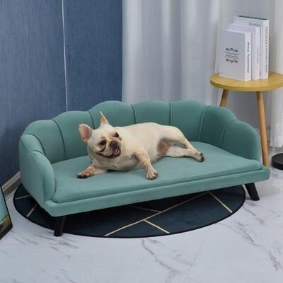 PawHut® Hundesofa mit Rückenlehne Haustiersofa Hundebett Weichem Bezug Katzensofa Grün