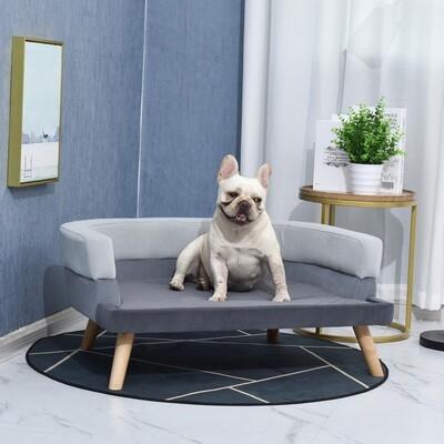 PawHut® Hundesofa mit Rückenlehne Haustiersofa mit Holzbeinen Hundebett Grau