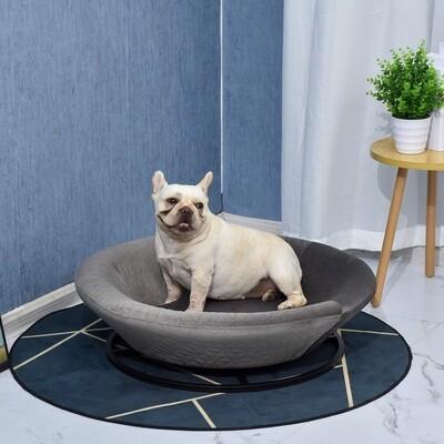 PawHut® Hundesofa in Beckenform mit Weichem Bezug Haustiersofa Hundebett Katzensofa Grau