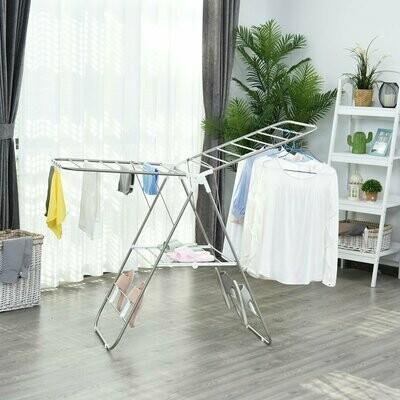 HOMCOM faltbarer Wäscheständer, Edelstahl, Kunststoff, Silber, Weiss