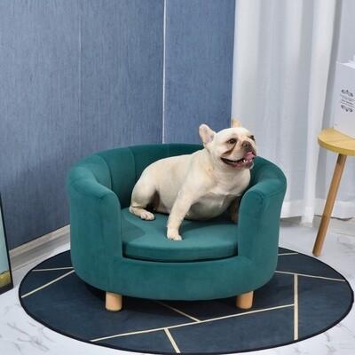 PawHut® Hundesofa mit Weichem Bezug Rundes Hundebett Haustiersofa mit Holzbeinen