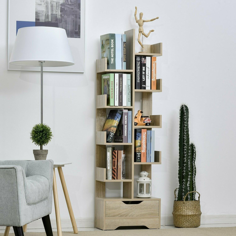 HOMCOM® Eck Bücherregal mit 10 Fächer und Schublade Standregal