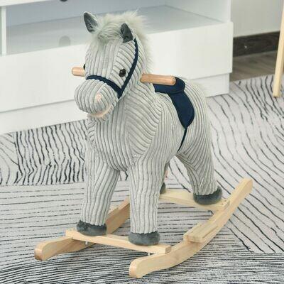 HOMCOM® Kinder Schaukelpferd Baby Schaukeltier Pferd Spielzeug für 36-72 Monate Grau