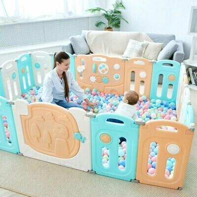 Baby Vivo Laufgitter aus Kunststoff 14 Elemente - Kory in Orange, Weiss und Türkis