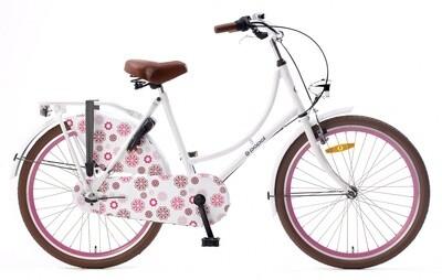 Hollandrad Fahrrad Velo Popal 24 Zoll Mädchen 3G Rücktrittbremse weiss